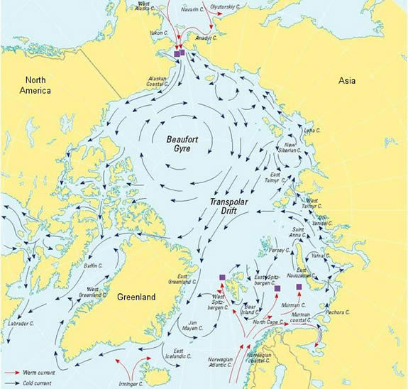 The Beaufort Gyre is a wind-driven circulation system that traps and pushes freshwater and ice around the Arctic Ocean.