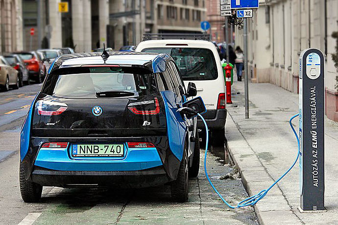 A Bmw Electric Vehicle At Road Side Charging Station In Budapest Hungary