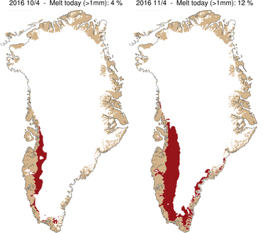 Illustration of the rapid expansion of ice melt on Greenland over just two days in April 2016.