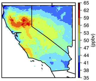 Maximum daily averages of background ozone in parts per billion in California and Nevada.