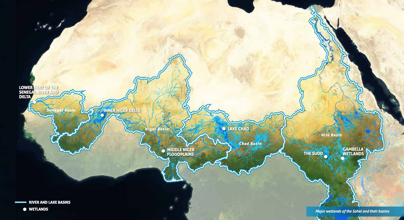 The major wetlands and water basins of the Sahel region in Africa.