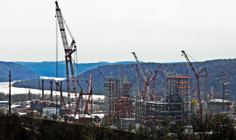 Shell Chemical Appalachia's ethane cracker facility under construction in Monaca, Pennsylvania in April 2019.