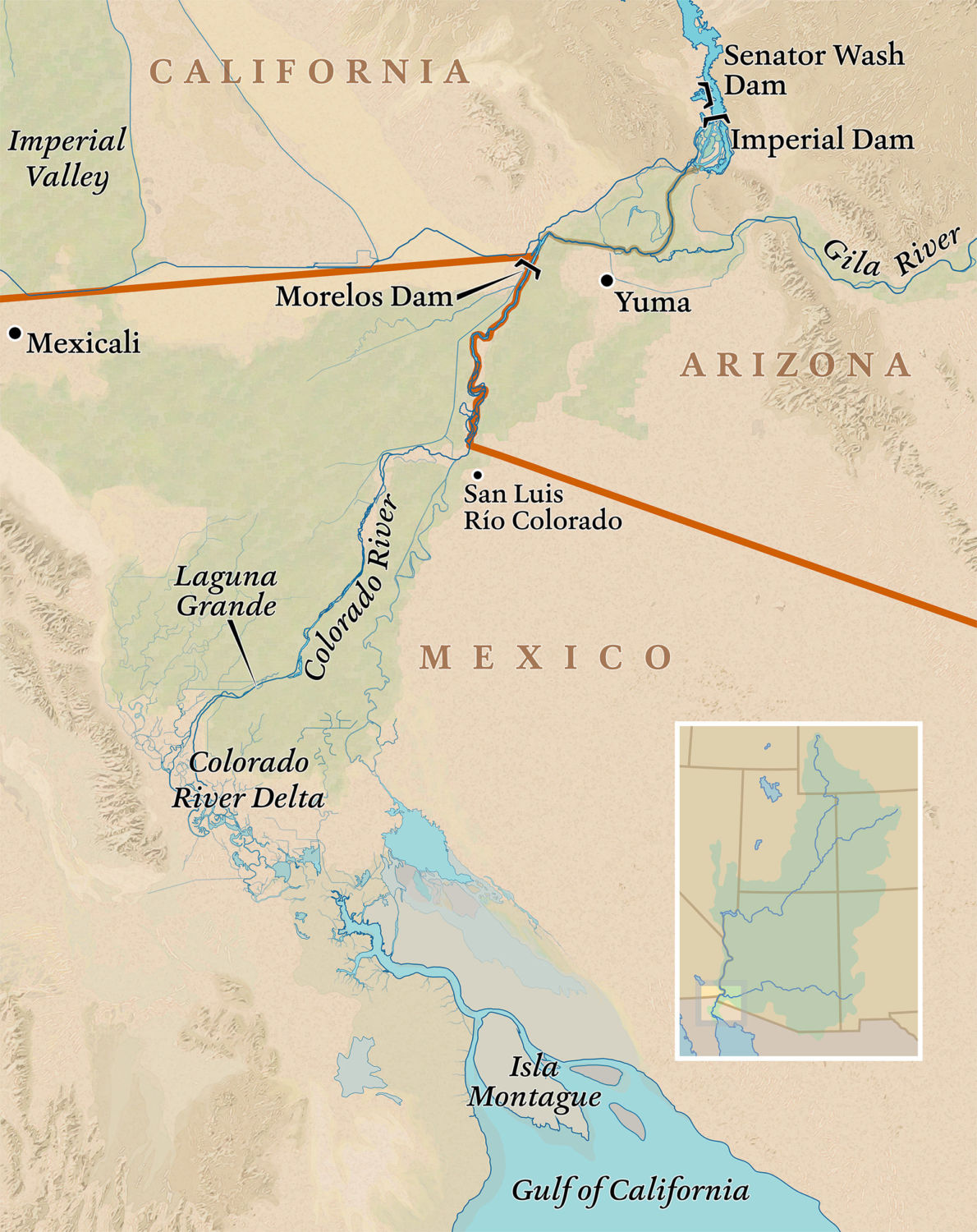 Gulf Of California Map.Restoring The Colorado Bringing New Life To A Stressed River Yale