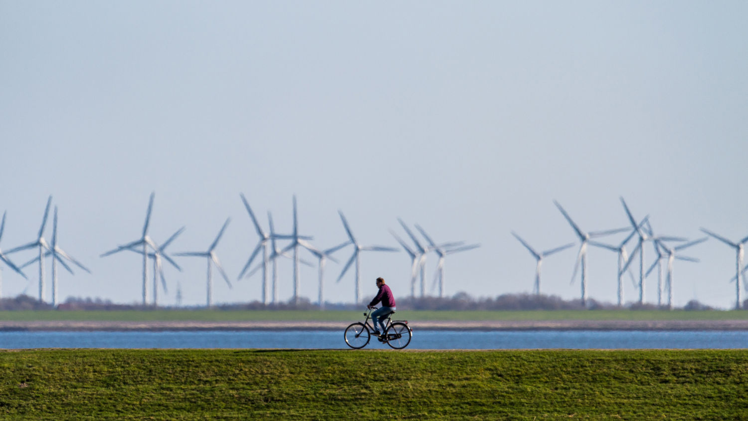 A bicyclist on an embankment in front of wind turbines in Norderney, Germany.