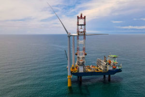 Construction work underway at the Coastal Virginia Offshore Wind project, located 27 miles off the coast of Virginia Beach.