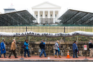 Demonstrators protest the Atlantic Coast Pipeline project outside the Virginia Capitol in Richmond in 2017.