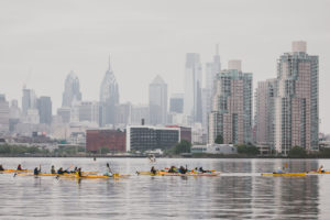 Kayakers paddling in the Delaware River near Philadelphia in 2018.