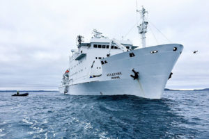 The Akademik Ioffe after running aground on a shoal in the Canadian Arctic on August 24.