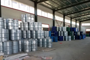 Barrels of raw material used to create foam insulation containing CFC-11 at a factory in Dacheng, Hebei Province.