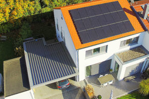 A photovoltaic system on a single-family house in Germany.