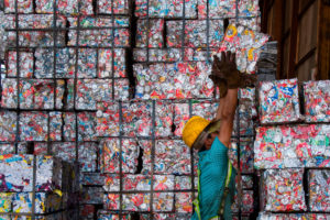 Recycled materials being stacked at facility in Costa Rica last June.