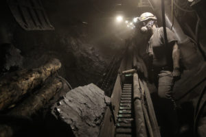 A miner at work in the KWK Pniowek coal mine in Pawlowice, Poland.