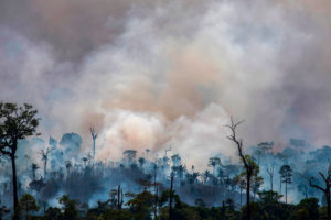 Smoke rises from fires in Altamira, Para state, Brazil last week.