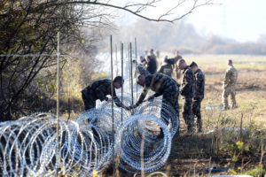 Soldiers set barbed wire fences on the Slovenian-Croatian border in November 2015.