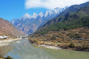 The Yangtze River as it flows toward Tiger Leaping Gorge in Yunnan Province.