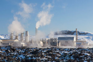 The Svartsengi geothermal power station near Grindavik, Iceland.