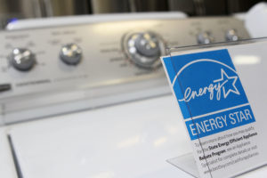 An Energy Star label displayed on washing machine at a Best Buy store in Marin City, Calif.