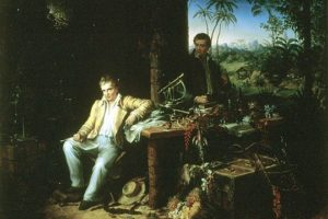 Alexander von Humboldt and French botanist Aimé Bonpland in the Amazon rainforest.