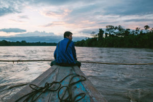A Wampis fisherman on the Santiago River in northern Peru.