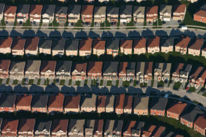 ​An aerial view of housing developments near Markham, Ontario.