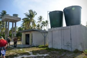 Water tanks in the Marshall Islands, part of a 2016 Green Climate Fund-United Nations Development Program project to build drought resilience with alternative water sources.