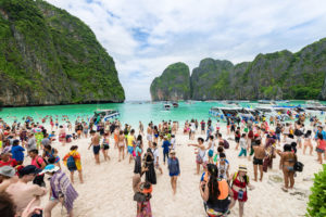 Maya Bay in Thailand attracted 5,000 tourists a day before the government closed the area to allow the ecosystem to recover.
