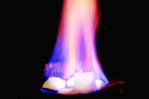 Methane hydrate on fire.