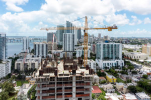 Construction of a new high-rise condominium in Miami in 2014.