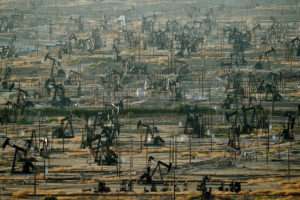 An oil field in Kern County, California, where producers rely on steam injection to pump out thick, carbon-heavy crude.