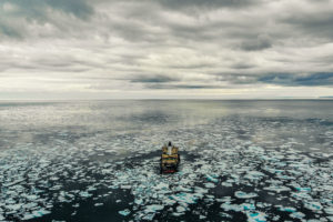 The icebreaker Oden sails through first-year ice in Lancaster Sound in the Canadian Arctic last month.