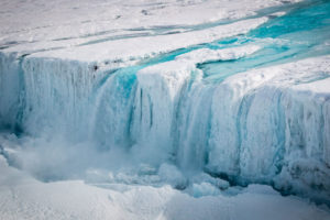 Meltwater flowing off the Nansen Ice Shelf in Antarctica.