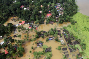 Partially submerged houses in Kerala, India last August.