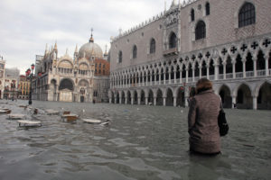 Sea level rise has worsened high tide flooding in Venice, submerging wide areas of the city such as the iconic Piazza San Marco, seen here in 2008.