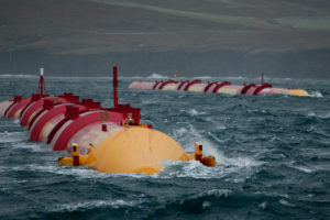 Machines designed by Pelamis Wave Power operating offshore at the Billia Croo test site of the European Marine Energy Centre (EMEC), located in Scotland's Orkney Islands. A central challenge faced by wave power developers has proven to be the complexity of harnessing wave power, which has led to a host of designs.