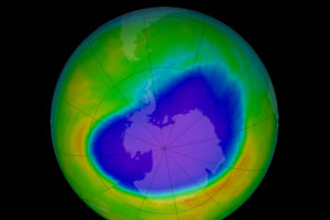 The Antarctic ozone hole in October 2016.