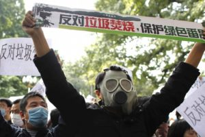 Activists protest waste-to-energy incinerators in the southern Chinese city of Guangzhou.