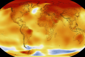Global temperature anomalies in 2016, with red representing areas that were 2 degrees Celsius warmer than the 20th century mean, and blue 2 degrees below the mean.