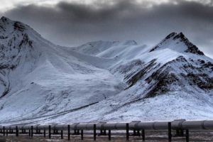 The 800-mile Trans-Alaska Pipeline passes through the rugged Brooks Range.