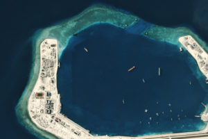 A satellite view of Subi Reef in July 2016 after its transformation into a military hub.