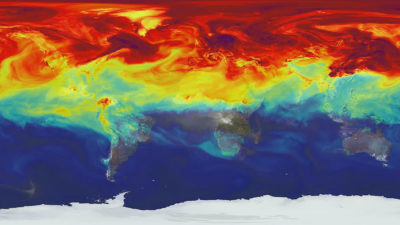 A computer simulation of carbon dioxide movement in the atmosphere.