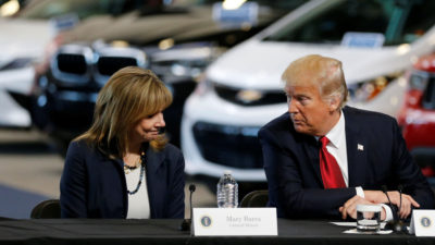 Mary Barra, CEO of General Motors, talks with President Trump at a press event in Ypsilanti Township, Michigan in March 2017.