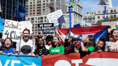 Xiye Bastida Patrick (third from right, with megaphone) and other youth activists in New York in September.
