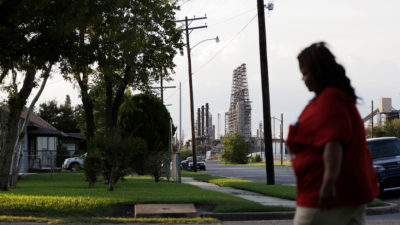 A residential street alongside a major oil refinery in Port Arthur, Texas, a city that is more than two-thirds African American and Latino.