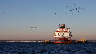 The historic Thomas Point Shoal Light Station in Chesapeake Bay near Annapolis, Maryland.