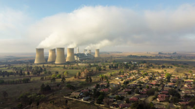 The coal-fired Hendrina Power Station next to the town of Pullen's Hope, Mpumalanga province, South Africa.