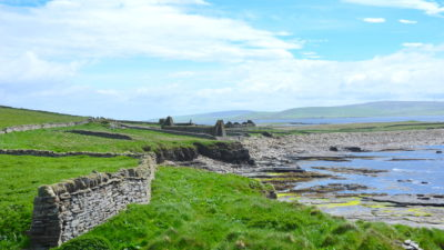 Ruins on Scotland's Rousay Island coast, which is eroding because of sea level rise and intensifying storms.