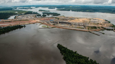 The Belo Monte Dam under construction on the Xingu River, a tributary of the Amazon, in 2015.