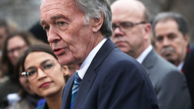 Senator Ed Markey of Massachusetts unveils the Green New Deal in front of the U.S. Capitol on February 7.