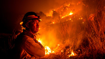 A firefighter at the Bobcat Fire in Monrovia, California on September 15.