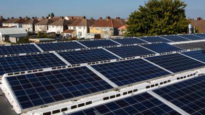 A 25-kilowatt solar array, part of a community-owned energy cooperative, in Bristol, England.